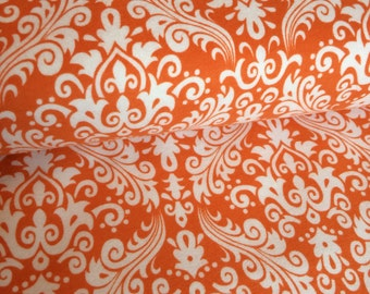 Orange Damask Flannel fabric