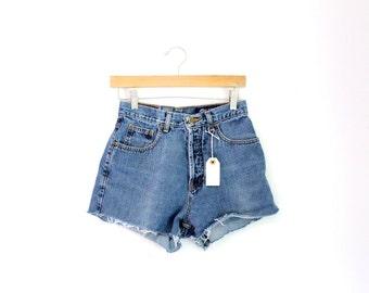 """Waist 27"""" High Waisted Vintage Denim Shorts"""