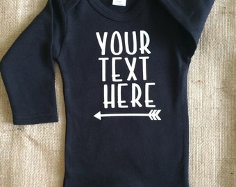 Custom Baby Long Sleeve Bodysuit - Your Text Here Long Sleeve Baby Bodysuit - Coming Home Outfit - Create Your Own - Baby Shower Gift