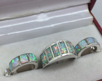 Vintage Sterling Silver Opal Demi Parure Matcing Earrings and Ring