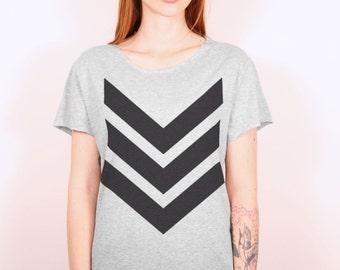 Vintage grey tshirt, big black arrows loose fit  cropped scoop neckline  cropped hems (laser cut)