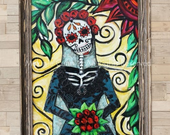 Framed Day of the Dead Original mixed media artwork