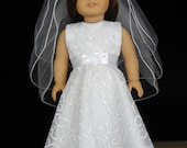 First Communion 18 Inch American Girl Embroidered Bridal Scallop Organza, Flower Girl, or Wedding  Dress
