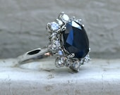 Gorgeous Vintage Halo 14K White Gold Diamond and Sapphire Engagement Ring - 7.28ct.