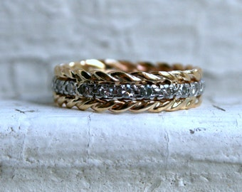 Vintage 14K White/ Yellow Gold Pave Diamond Rope Eternity Wedding Band - 0.72ct.