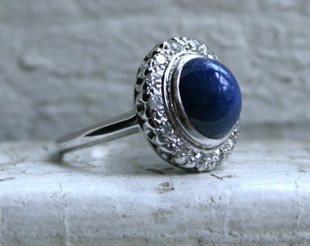 Beautiful Synthetic Star Sapphire and Diamond Ring Engagement Ring in 14K White Gold.