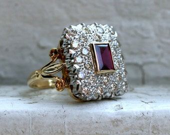 RESERVED - British Vintage 18K Yellow Gold Diamond Halo and Ruby Cluster Ring Engagement Ring.