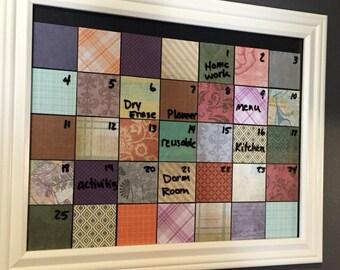 framed dry erase monthly calendar family organizer dorm room decor home decor wall hanging
