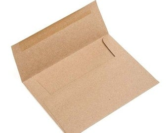 A6 Size 6 1/2 x 4 3/4  Inch Brown Bag Kraft Envelopes, Set of 25 for Handmade Cards