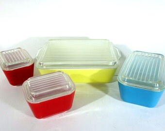 Vintage Pyrex Refrigerator Set Primary Colors Lids, Lidded Glass Storage Containers, Casserole Dishes