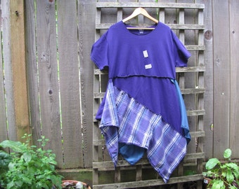 Purple Plaid Plus Size Tunic Shirt Lagenlook Upcycled/ Funky Asymmetrical Eco Blouse/ Hi Lo Womens Tops Size XL