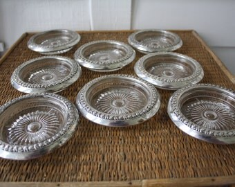 Sterling silver coasters, sterling and glass coasters, 8 sterling and glass coasters, vintage coasters