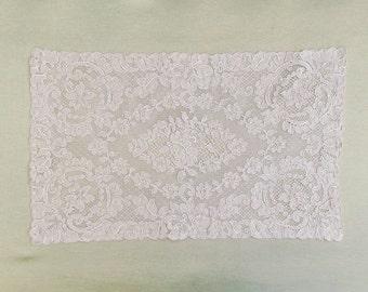 Vintage oblong lace doily, Alencon lace doily, French lace doily or placemat