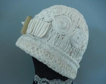 1920s Flapper Hat - Gatsby Hat - Flapper Cloche Hat - Flapper Bridal Hat - Ribbon Work Hat - Vintage Hat - Brides Flapper Hat