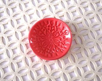 Ring Dish - Bright Pink Jewelry Holder - Handmade Trinket Dish - Scandinavian Floral Design - Rosemaling / Kurbits - Folk Art Decor