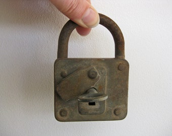 large French padlock fully working with key