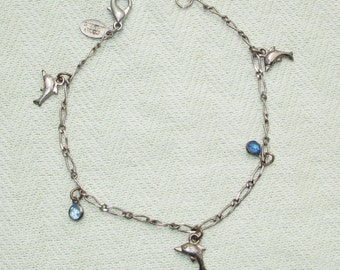 Silver Dolphin Bracelet with Blue Gems