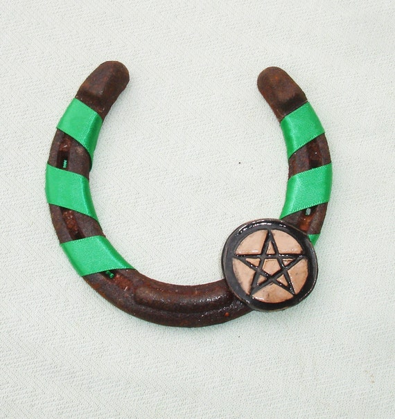 Good Luck Horse Shoe Wall Hanging Handmade Wiccan Decor