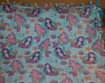 Mermaid Fleece Tie Blanket