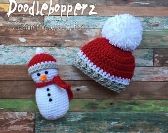 Snowman Hat and Stuffy, Stuffed Snowman, Pom Pom Hat, pompom, Red, White, Gray,  Girl, Boy, Newborn Photo Prop, Ready to Ship