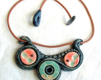 Blue necklace Hand carved wooden pendant with ceramics Unique jewelry in boho style