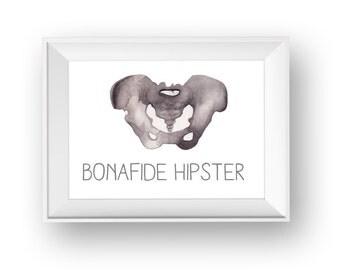Bonafide Hipster Original Watercolor Art / Hipster Art / Wall Art / Gift Art / Gift for Friend / Original Watercolor