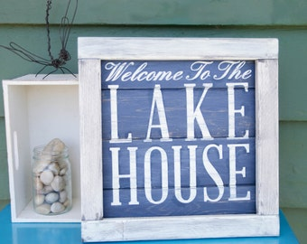 "Rustic Lake House Sign, ""Welcome to the Lake House"", Cabin Decor, Lake House Wall Art, Hand Painted Sign, Wood Sign"