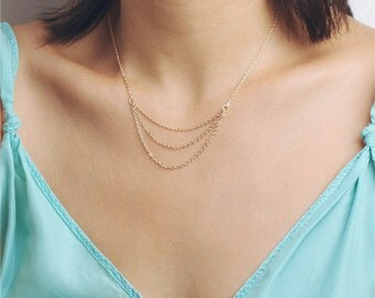 Delicate simple everyday simple layered chain necklace