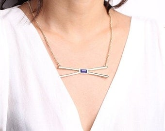 ON SALE Kiss necklace - criss cross necklace - statement necklace