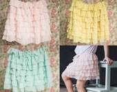THREE Ruffle Skirts Mint, Blush, Yellow | Spring skirts | Size 18mos, 2T, 3T, 4T, 5, 6 | Ready to Ship SALE