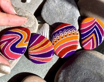 Sedona skies / rock magnets set of 4 / painted rocks / painted stones / fridge magnets / refrigerator magnets / hand painted magnets