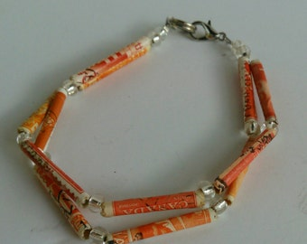 Orange recycled postage stamp bracelet unique lightweight paper beaded handmade gypsy jewelry mandarin travel lovers gift