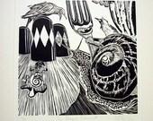 The Intrepid Replacement Snail Circus Original Print Linocut