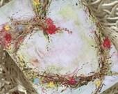 Valentine Heart Card/Valentine Greeting Card/Original Art Card/Heart Wreath Card/FREE SHIPPING