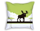Moose Pillow - Green Pillow - Decorative Cushion - Moose Decor - Moose Gift - Green Decor - Animal Pillow - Gift For Him - Nature Pillow