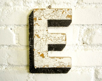 "Vintage Carnival Letter ""E"" Antique Original Old Hand Painted Sign Letter Primitive Shabby Chic Folk Art Circus Wood Sign Letter"