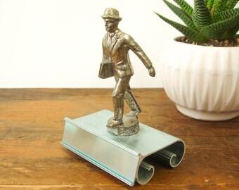 1940s-50s Business Man Trophy, Figurine, Desk Name Plate / Plaque / Holder Fun Vintage Office or Den Accessory Salesman