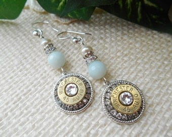 Bullet Jewelry ~ 45 Auto Winchester ~ Bullet Casing Earrings ~ Amazonite Pearl Clear Crystals Rhinestones