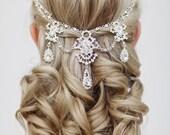 Wedding Crystal Hair Accessories, Bridal Hair Jewelry, Crystal Bridal Headpiece, The Ellie silver hairfloater #303
