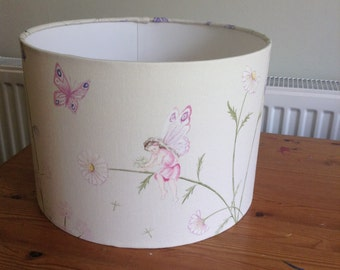 Handmade 30 cm Drum lampshade in cream, pink fairy, faries fabric