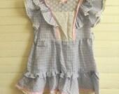 Girls Vintage Dress, Easter Dress, SLeeveless Sundress, Size 4 Easter Dress, Blue and Pink Sundress, Lightweight Cotton Sleeveless Dress