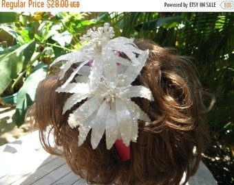 """20% OFF Vintage 70's Fun Irridescent 2 Sequin 5"""" Flower Appliques on new Hot Pink Headband, Hair Fascinator, Hair accessory"""