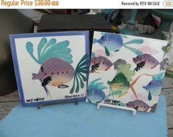 15% OFF Key West Hand Painted & Signed by W. Hyla, 1991 Vintage Decorative Tile/TrivetPottery