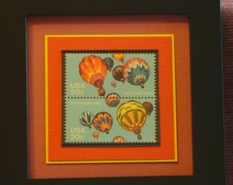 Vintage Framed Postage Stamps -  Hot Air Balloons - No. 2033 and 2034