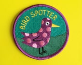 Bird Spotter Patch, Funny Embroidered Patch, Bird Iron On Patch, Green Purple Patch, Funny Animal Patch, Bird Watching Patch, Twitcher Patch
