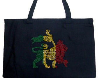 Large Tote Bag - Rasta Lion - One Love Created using the words One Love
