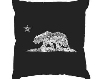 Throw Pillow Cover - Word Art - California Bear