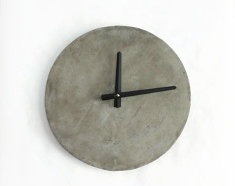 Cement Wall Clock, Concrete Clock, Industrial Wall Clock, Home and Living, Home Decor, Clocks