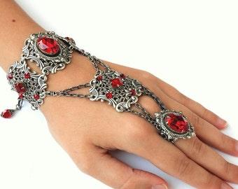 Swarovski Slave Bracelet Red Gothic Bracelet Ring Bold Silver Bracelet Ring Red Gothic Wedding Red Ring Bracelet Victorian Gothic Jewelry
