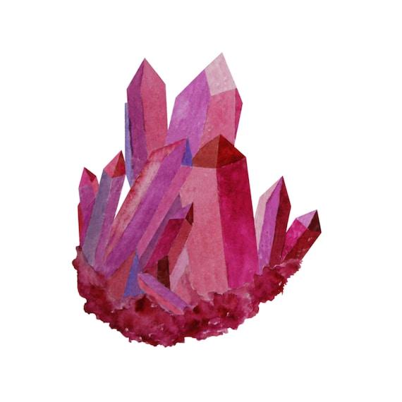 Crystals ClipArt Watercolor Crystals, Watercolor Crystal ... Quartz Clipart